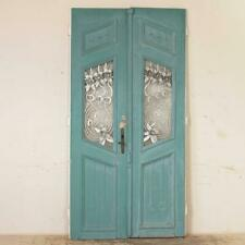 Pair, Original Blue Painted Antique Doors With Decorative Iron Flowers and Scrol