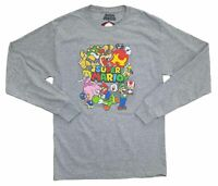 New Mens Super Mario Bros Brothers Cast Characters Retro Long Sleeve T-Shirt Tee