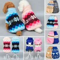 Pet Dog Knitted Jumpsuit Warm Winter Sweater Coat Puppy Vest Jacket Clothes UK
