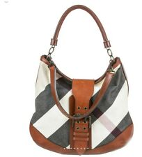 Burberry White/Gray Mega Check Canvas and Leather Hobo Bag