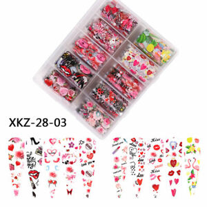 Valentine's Day Flower Sexy Lips Heart Nail Art Transfer Foil Cute Designs