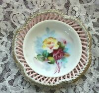 antique woven Porcelain Hand Painted Roses w/ Gold Dish 4""