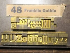 Ludlow Franklin Gothic 48 Point Matrix, Printers & Crafters. 31 pieces