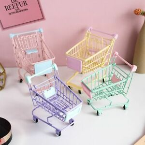 Storage Shopping Cart Desktop Decoration Toy Gift For Kid Simulation Accessory