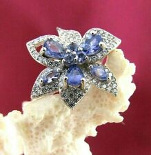 Tanzanite and CZ Flower Ring in Sterling Silver