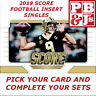 2019 Score Football Insert Singles You Pick & Complete Your Sets