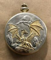 Franklin Mint Gold Silver Dragon Pocket Watch Needs Battery Missing Chain D64