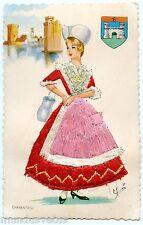 Carte postale brodée  . Costume et folklore . CHARENTAISE . CHARENTE .