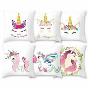 18inch x 18inch Unicorn Cushion Pillowcase Cute Cartoon Kids Room Home Supplies