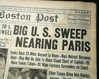 LE MANS FRANCE Post D-Day French Cities Captured World War II 1944 Old Newspaper