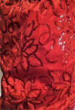 """Nwt 60"""" Christmas Shoppe Tree Skirt - Crimson Velvet, Brocade, Sequin Flowers"""