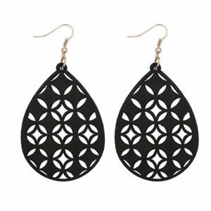 Openwork Wood Teardrop Dangle Earrings for Women Hollow Wooden Fashion Jewelry