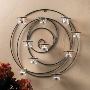 """HYPNOTIC CANDLE WALL SCONCE - 17 1/4"""" ROUND - IRON & GLASS - BLACK"""