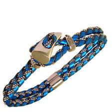 Bracciale snake 2 fili pelle blu elettrico con catena pallina zanna argento 925