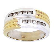 Men's 18k Yellow & White Gold 0.42ctw Diamond Textured Wedding Band