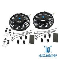 "2x  9"" inch 12V Universal Slim Fan Push Pull Electric Radiator Cooling Mount"