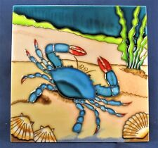 Blue Crab undersea decorative hand painted ceramic tile home decor