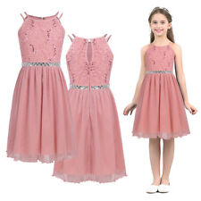 Kids Flower Girls Party Sequins Dress Wedding Bridesmaid Princess Prom Dresses