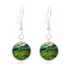 Vincent Van Gogh glass Frea Earrings Art Photo Tibet silver Earring Jewelry #276