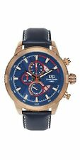 NEW Ulysse Girard 14083 Men's Masson Rose Gold Chronograph Blue Leather Watch