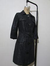 VERTIGO PARIS Black Belted 3/4 Sleeve Cotton Blend Coat-Size XS