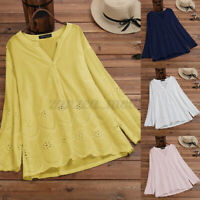 Women Cotton Vintage Embroidered Shirt T-Shirt Solid Hollow Out Tops Blouse Plus