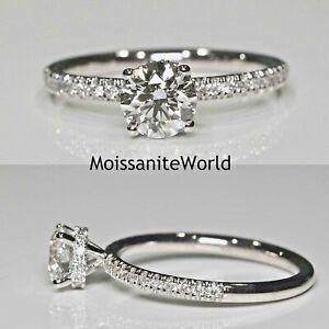 2 Carat Round White Moissanite Engagement Minimalist Wedding Ring 10K,14K,18K
