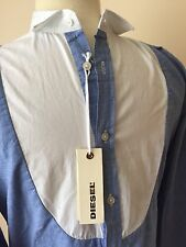 Men's DIESEL White/Blue Shirt Long Sleeve Button Front Size M NEW Slim Fit Shirt