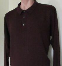 TRADER BAY. Size L/XL 50% MERINO WOOL.Polo Sweater Shirt. Bordeaux color. EUC!