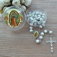 BLESSED ROSARY OUR LADY OF GUADALUPE ROSE SCENTED WOOD & CARD CHRISTIAN CATHOLIC