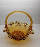 Vintage Fenton Cabbage Rose Amber Handled Basket