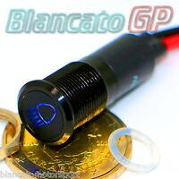 SPIA LED 12mm CON SIMBOLO ABBAGLIANTI 12V ALLUMINIO NERO car indicator light BLU