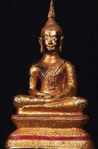 """BUDDHA: Antique Thai Rattanakosin, Gilded & Lacquered Bronze,early 1800s, 10.5 """""""