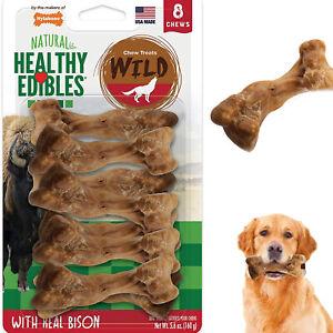 Dog Chew Treats Long Lasting Bison Snack Bones 8 Pieces Wild Natural Pet Pack