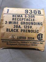 HUBBELL 9308 RECEPTACLE 30A 125V NEMA 5-30R. BLACK PHENOLIC.