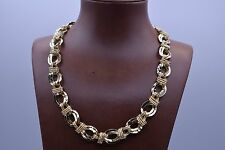 Technibond Diamond Cut Multi Oval Link Necklace 14K Yellow Gold Clad Silver