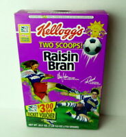 1996 Major League Soccer Raisin Bran cereal box Alexi Lalas and Tab Ramos