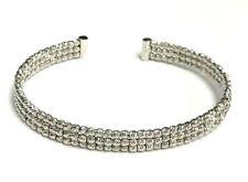 14k white gold 3 row Bangle Bracelet
