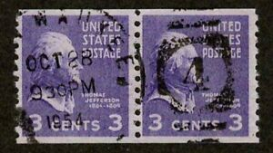 US 1939 #842 - 3c Thomas Jefferson Coil Pair (2) Stamps Used