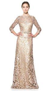 Tadashi Shoji Lace Dress Gown Sequin Gold Nude Dress Bow Waist Ginseng 8
