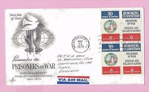 USA 1970 Art Craft FDC Block of 4 - DISABLED SERVICEMEN & POW's - MONTGOMERY