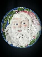 VINTAGE 1976 CERAMIC SANTA FACE PLATE DOOR HANGER CHRISTMAS SANTA PLATE  6'