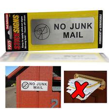 Self Adhesive No Junk Mail Front Door Warning Stick Sign Waterprof Metal Sticker