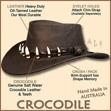 【oZtrALa】Aussie LEATHER Hat CROCODILE Teeth Band Cowboy DUNDEE Mens AUSTRALIAN
