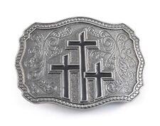 THREE CROSSES BELT BUCKLE 17068 Christian cross cowboy western belt buckles