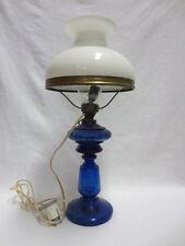 PETROLEUM-LAMPE - JUGENDSTIL / ART DECO - Elektrifiziert - Kobaltblaues Glas