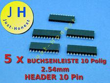 Stk.5x boccole barra/Header 10 poli 2.54mm Arduino costruzione/Style #a183