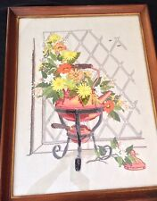 "GIANT!!  Vintage Mid Century 21x27"" Framed Floral Embroidery  Wall Art Glassed"