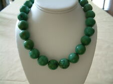 LARGE GENUINE  TURQUOISE POLISHED ROUND BEAD NECKLACE 18mm, 18in.