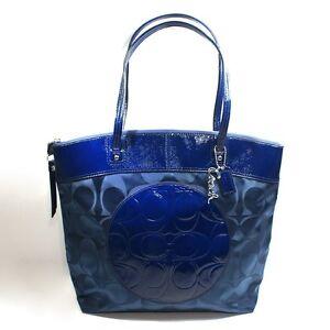 Coach Designer Laura Navy Blue Nylon/ Leather Signature Travel Tote Bag - $298